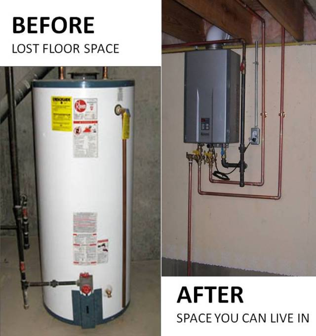 Tankless before and after